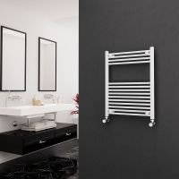 Eastgate 22mm Steel Straight White Heated Towel Rail 800mm x 600mm - Central Heating