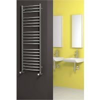 Reina Eos Polished Curved Stainless Steel Heated Towel Rail 1500mm x 500mm Electric Only - Thermostatic
