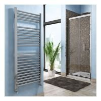 Lazzarini Roma Straight Carbon Steel Designer Heated Towel Rail Chrome 1230mm x 600mm Electric Only - Thermostatic